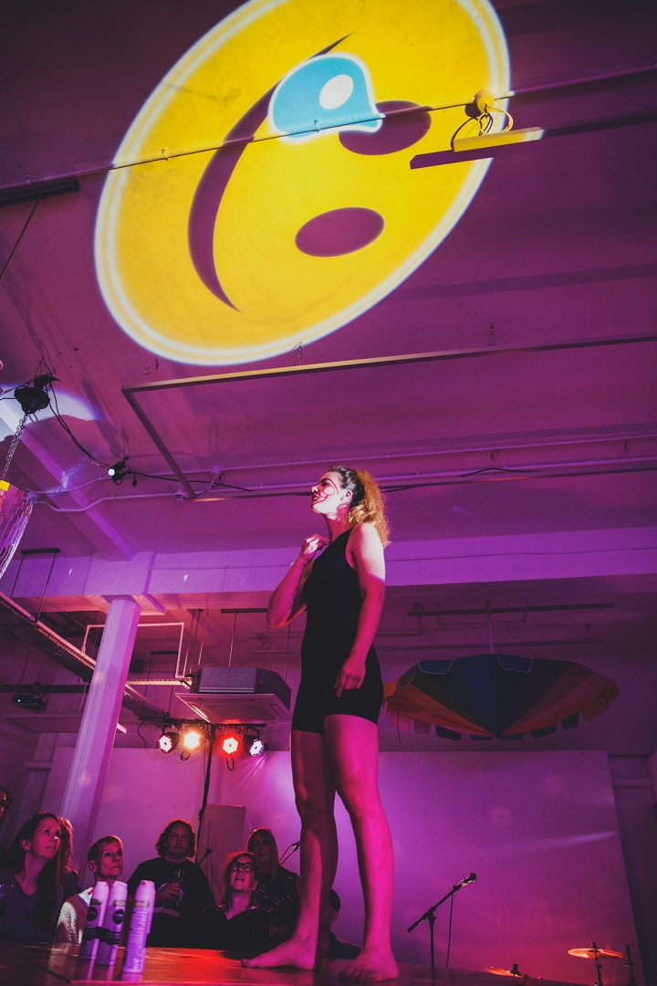 Humber Street Gallery WORM FESTIVAL Saturday's performance girl on stage