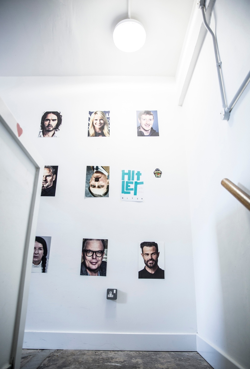 Humber Street Gallery WORM FESTIVAL stairs to Gallery Two and Three with photographs of celebrities