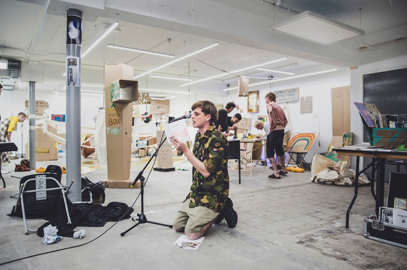 Humber Street Gallery WORM FESTIVAL Gallery Two artist reading poem