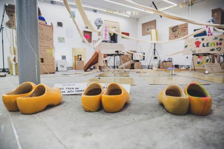 Humber Street Gallery WORM FESTIVAL Gallery Two Boxing Ring Close Up with wooden slippers