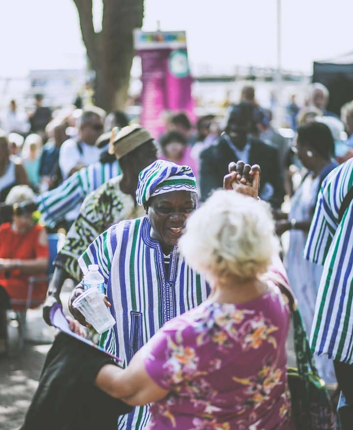 ARTISTS DANCING WITH MEMBER OF PUBLIC FREETOWN MIX MUSIC STAGE FREEDOM FESTIVAL 2017