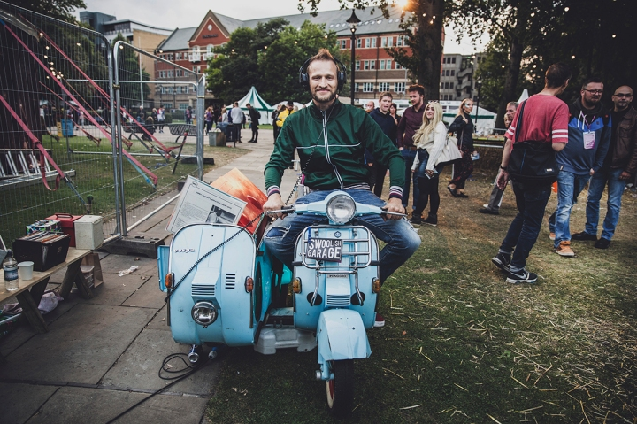 MAN ON THE SWOOLISH GARAGE MOTORBIKE  THE FOOTHBATH TERRACE&VESPAUDIO SWOOLISH  FREEDOM FESTIVAL 2017