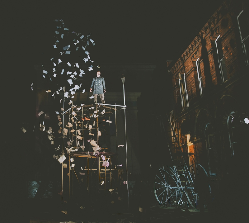 MAN STANDING ON SCAFFOLDING 451 PERIPLUM AND CORN EXCHANGE FREEDOM FESTIVAL 2017