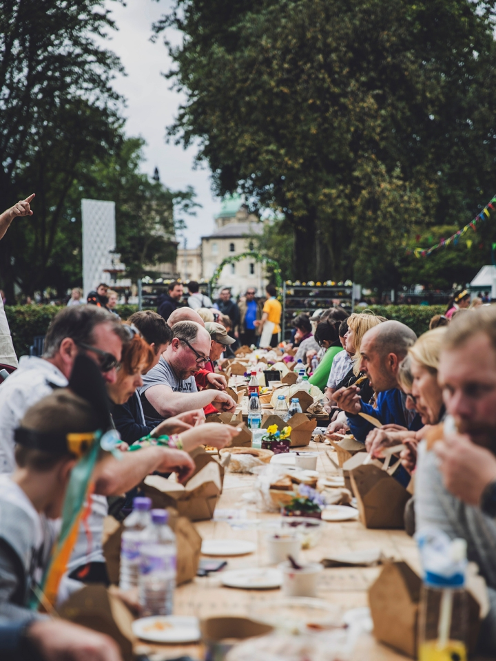 PEOPLE ENJOYING FOOD AT THE FREEDOM FEASTIVAL FREEDOM FESTIVAL 2017